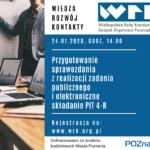 Przygotowanie sprawozdania z realizacji zadania publicznego ielektroniczne składanie PIT 4-R | 24.01.2020
