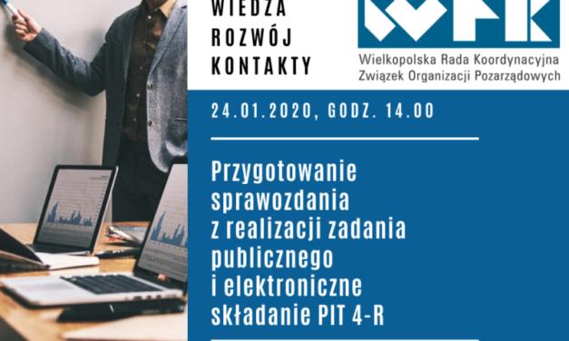Przygotowanie sprawozdania z realizacji zadania publicznego ielektroniczne składanie deklaracji PIT| 24.01.2020