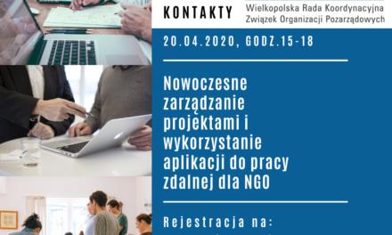 20.04.2020 Nowoczesne zarządzanie projektami i wykorzystanie aplikacji do pracy zdalnej dla NGO – Webinarium